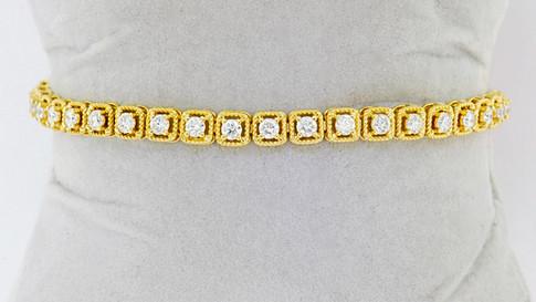 14k yellow gold 2.86ct total weight diamond tennis bracelet