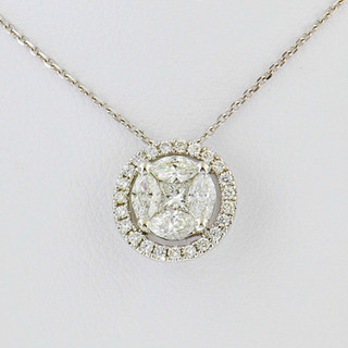 18k white gold .62 total weight, diamond pendant