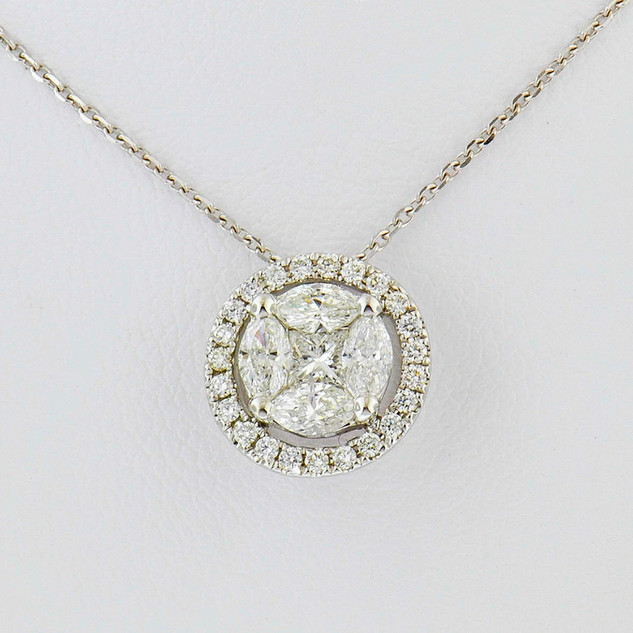 18k white gold .62 total weight, diamond pendant