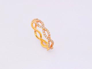 14k rose gold, .93ct total weight, micro pavé diamond ring