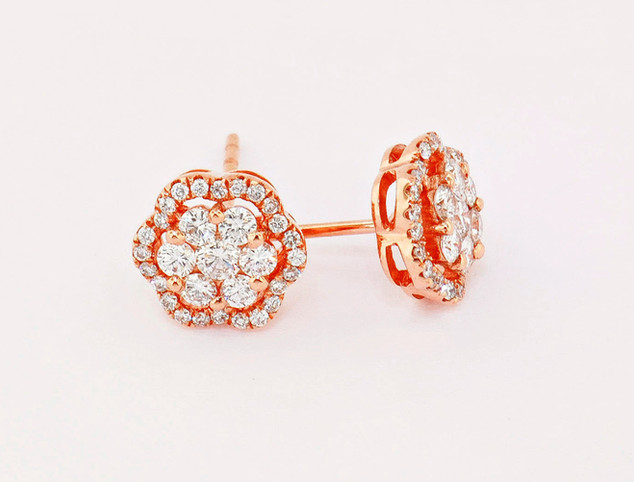 18k pink gold, .63ct total weight, micro pavé and invisible set diamonds stud earrings