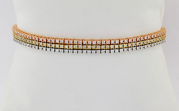 14k tri-color gold, 4.05ct total weight diamond triple tennis bracelet