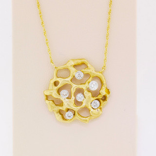 14k two-tone, white and yellow gold, .30ct total weight, hand made, free form pendant, bezel set diamonds