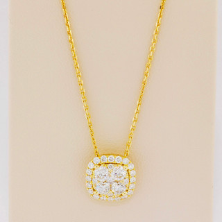 18k yellow gold, .81ct total weight diamond necklace