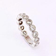 14k white gold, 1.43ct total weight, milgrain bezel diamond eternity ring