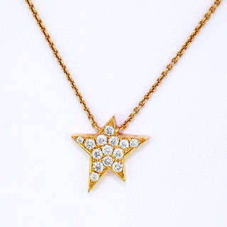 18k rose gold .17ct total weight diamond star pendant