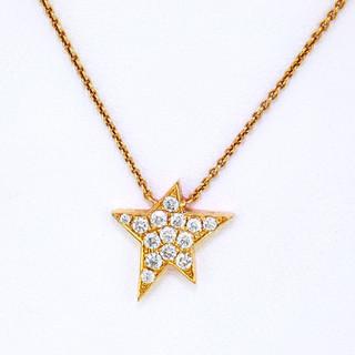 18k rose gold .17ct total weight diamond star pendant