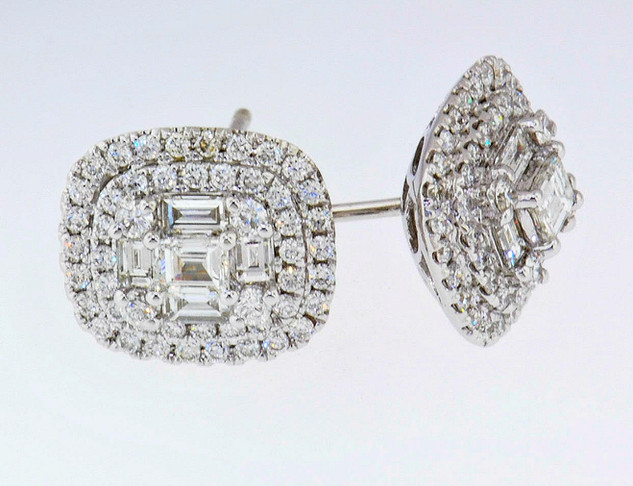 18k white gold 1.52ct total weight diamond earrings