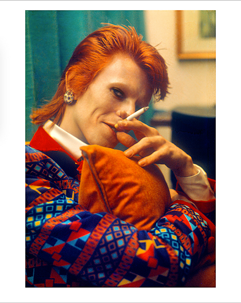 """Bowie CU With Cigarette Queen Elizabeth Liner UK 1973 © MickRock  11""""x14"""" $1,500 USD (limited edition of 90)  16""""x20"""" $2,500 USD (limited edition of 90)  20""""x24"""" $3,000 USD (limited edition of 50)  24""""x30"""" $4,700 USD (limited edition of 35)  30""""x40"""" $8,500 USD (limited edition of 25)  40""""x60"""" $15,000 USD (limited edition of 10)"""