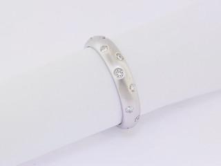 Platinum, .45 total weight burnish set ring.