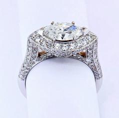 14k white gold, 1.28ct diamond setting, 1.49 ct center stone marquise diamond engagement ring