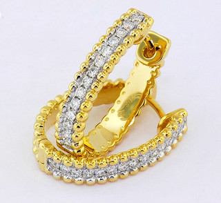 14k two-tone, white and yellow gold .35ct total weight diamond hoop earrings