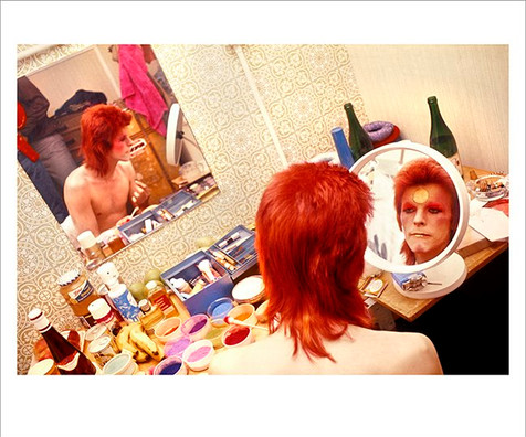 """David Bowie Make Up Circle Mirror © Mick Rock, Scotland 1973  11""""x14"""" $1,500 USD (limited edition of 90)  16""""x20"""" $2,500 USD (limited edition of 90)  20""""x24"""" $3,000 USD (limited edition of 50)  24""""x30"""" $4,700 USD (limited edition of 35)  30""""x40"""" $8,500 USD (limited edition of 25)  40""""x60"""" $15,000 USD (limited edition of 10)"""