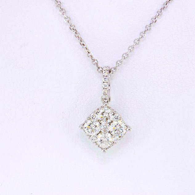 14k white gold .59ct total weight, diamond necklace