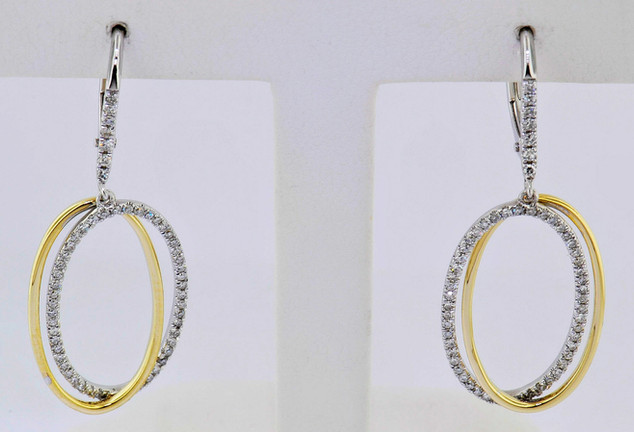 14k two-tone, white and yellow gold .35ct total weight, diamond earrings
