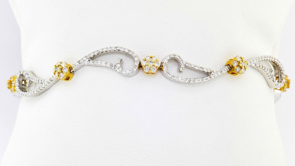 18k two tone, white and yellow gold 2.11ct total weight diamond bracelet