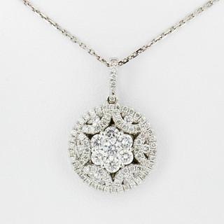 18k white gold 1.28ct total weight, diamond pendant
