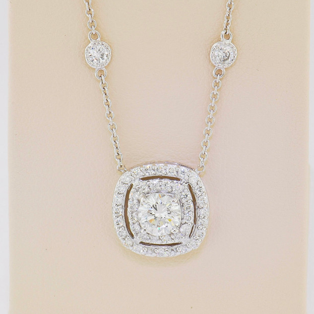 14k white gold, 1.39ct total weight round, prong set, diamonds by the yard chain with miligrain by hand necklace.