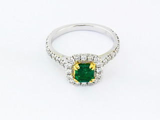 18k two-tone white and yellow gold .71ct total weight diamond setting, .50ct total weight emerald center stone