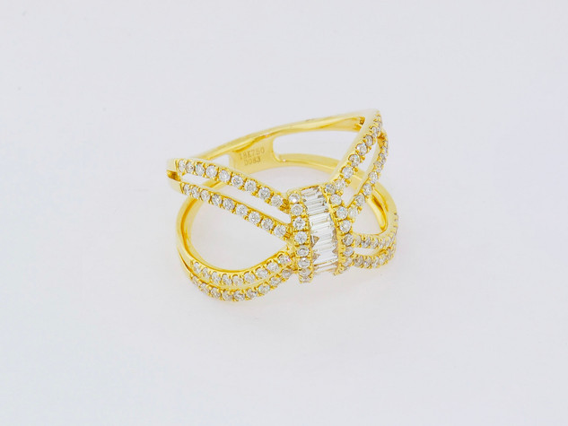 18k yellow yold, .94ct total weight, baguette and round diamonds, micro pavé and channel set