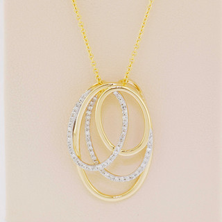 14k two-tone gold, .18ct total weight, micro pavé set necklace