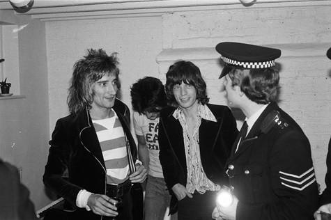 """Rod Stewart, Mick Jagger © Mick Rock  11""""x14"""" $1,200 USD (limited edition of 90)  16""""x20"""" $2,000 USD (limited edition of 90)  20""""x24"""" $2,500 USD (limited edition of 50)  24""""x30"""" $4,000 USD (limited edition of 35)  30""""x40"""" $7,000 USD (limited edition of 25)  40""""x60"""" $12,000 USD (limited edition of 10)"""