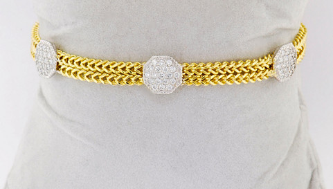 14k two-tone, white and yellow gold 1.22ct total weight diamond bracelet