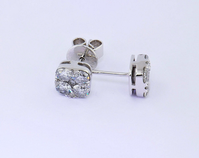 14k white gold 1.26ct total weight diamond stud earrings