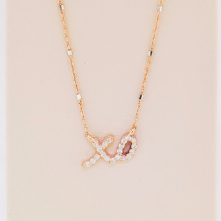 14k rose gold, .12ct total weight necklace