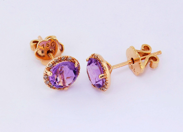 14k rose gold, amethyst and diamond earring