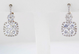 14k white gold 1.80ct total weight diamond earrings