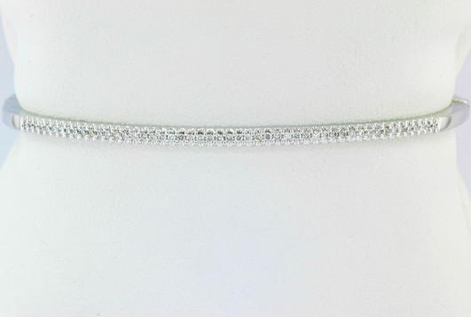 14k white gold .40ct total weight diamond bangle bracelet