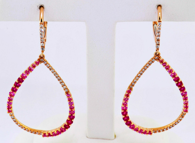 14k rose gold .23ct total weight diamond, 1.01ct total weight pink sapphire earrings
