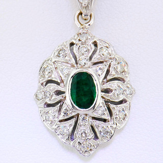 14k white gold .35ct total weight emerald .21ct total weight diamond, Art Deco pendant