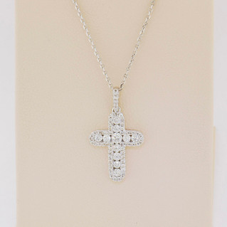 14k white gold, .41ct total weight, micro pavé and channel set necklace