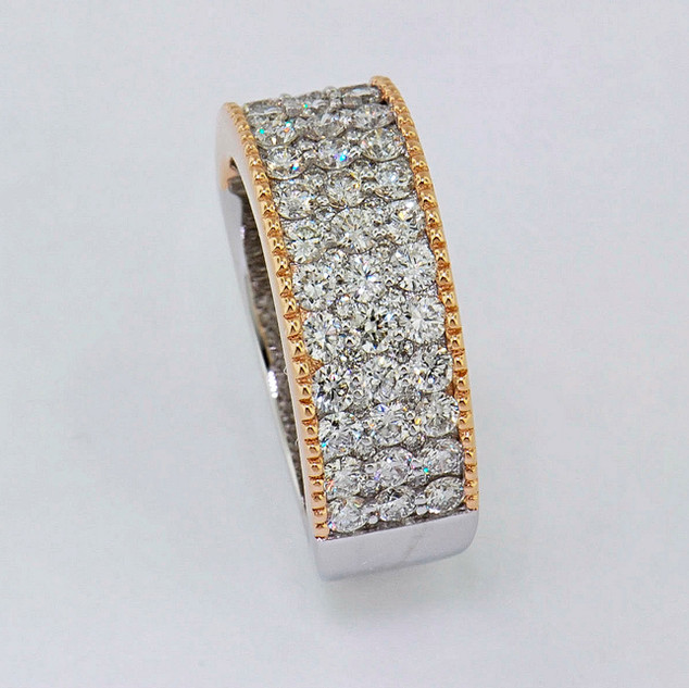 14k two-tone, white and rose gold 1.60ct total weight diamond band