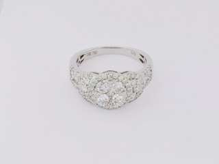 14k white gold, 1.25ct total weight, micro pavé and prong set, round diamonds