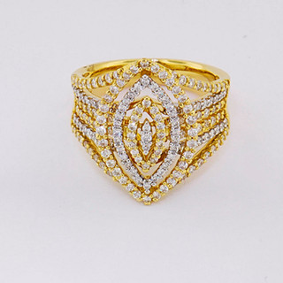 14k two-tone, white and yellow gold 1.55ct total weight diamond ring
