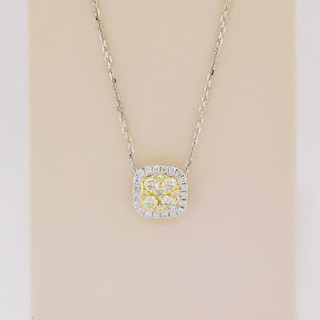18k two-tone, white and yellow gold, yellow .28ct and white .12ct total weight