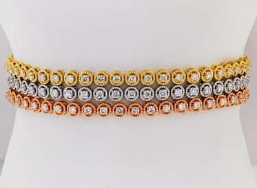 14k tri-color gold, 4.51ct total weight diamond 3 row tennis bracelet