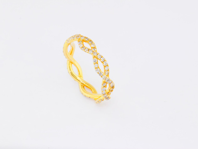 14k yellow gold, .93ct total weight, micro pavé diamond ring