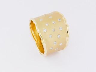 14k yellow gold, .50ct total weight, burnish set diamonds, hand made, glass bead finish
