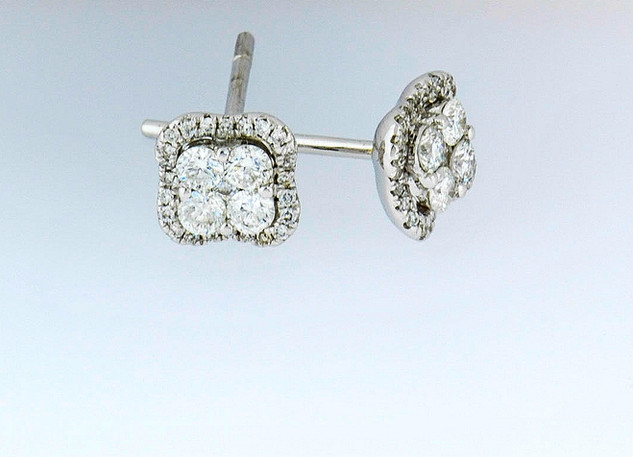 18k white gold .48ct total weight diamond studs