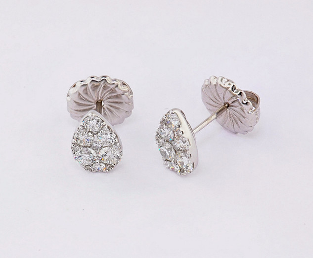 18k white gold 1.11ct total weight diamond pear shape cluster stud earrings
