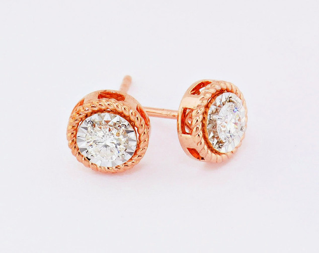 14k pink gold, .40ct total weight, braided border diamond stud earrings