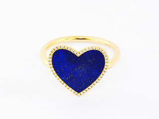 14k white gold .10ct total weight diamond halo, 1.63ct total weight lapis center stone