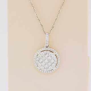 18k white gold, .94ct total weight princess cuts/rounds, micro pavé and invisible setting pendant.