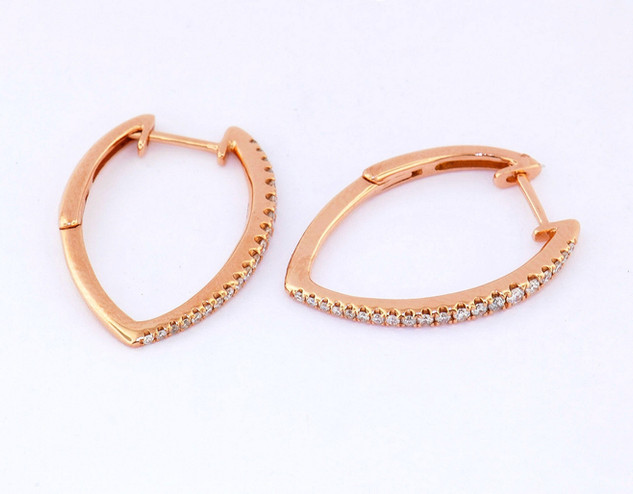 14k rose gold .35ct total weight diamond earrings