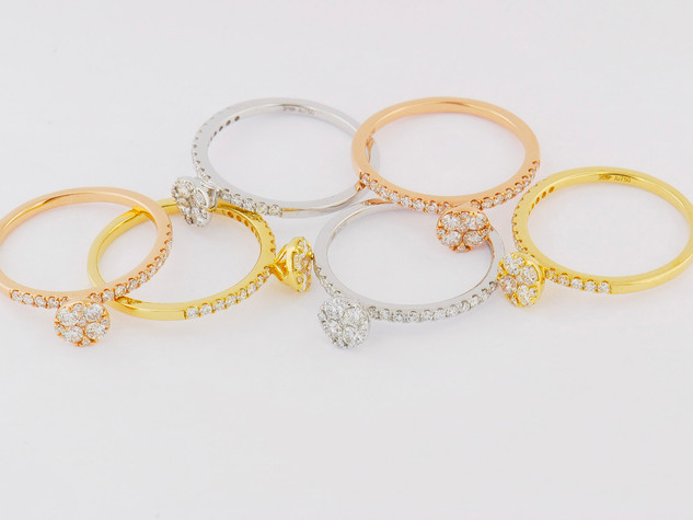18k pink, white and yellow gold, 2.43ct total weight, 6 piece ring set, micro pavé and invisible set diamonds