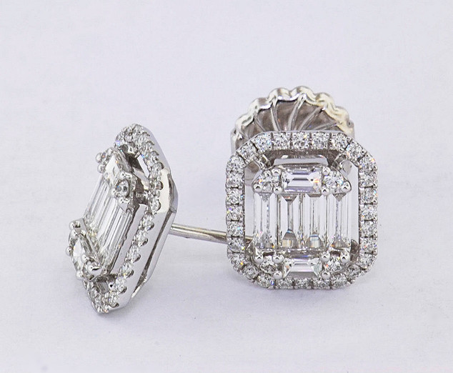 18k white gold 1.60ct total weight diamond, emerald shape cluster stud earrings